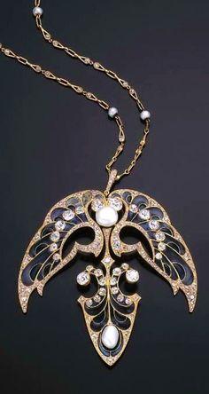 Vever-Art Nouveau Enamel/Diamond/Pearl Pendant