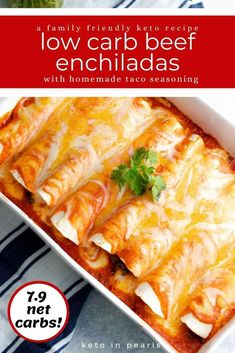 These easy low carb enchiladas with beef use a homemade keto taco seasoning and a couple of store bought ingredients for an effortless halfway homemade keto beef enchilada recipe that your whole family will love!