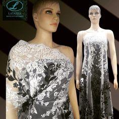 Black and White Overlap Embroidery exclusively available at Latasha Haute Couture Fabrics.  Shop no. 4, pankaj hill co op hsg soc. Ltd., Ambedkar Road, Khar (W), near ambedkar statue. Mumbai 52 Ph - +91-022 26001048