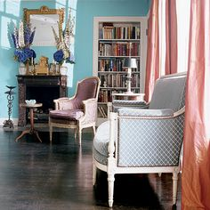aqua wall, white baseboard & door frames, charcoal or purple flooring, coral panels/accents! - Elegant, Classy and Fun: Using Tiffany Blue in Your Home