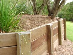 Wooden Garden Retaining Wall How To Build A Wood Retaining Wall Build A Retaining Wall How To Build Retaining Wall Small Wood Retaining Walls Ltd Wooden Retaining Wall, Cheap Retaining Wall, Sleeper Retaining Wall, Backyard Retaining Walls, Building A Retaining Wall, Backyard Landscaping, Landscaping Ideas, Patio Ideas, Garden Ideas