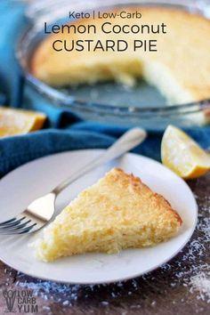 Recipe for an easy lemon coconut custard pie with coconut milk