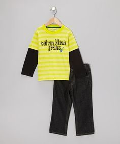 Take a look at this Yellow Stripe Layered Tee & Jeans - Infant, Toddler & Boys by Calvin Klein Jeans on #zulily today!