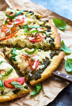 This easy chicken pesto pizza comes together in just 25 minutes using a few simple shortcuts!
