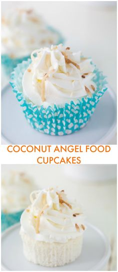 Light and airy coconut angel food cupcakes are topped with a coconut whipped cream frosting to make these delightful cupcakes!!