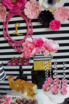 Glam black, white, pink and gold birthday party! See more party ideas at… Pink And Gold Birthday Party, 30th Birthday Parties, Gold Party, Golden Birthday, Themed Parties, Kate Spade Party, Pink Und Gold, Paris Party, Pink Parties