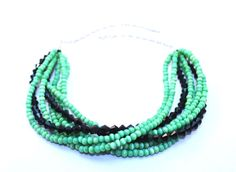 Green black necklace beaded necklace by NotYourMomsJewellery Collar Necklace, Beaded Necklace, Necklace Charm, Necklaces, Mom Jewelry, Black Necklace, Rough Diamond, Multi Strand Necklace, The Help