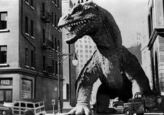 """A scene featuring the Rhedosaurus from """"The Beast from 20,000 Fathoms"""" (1953), with visual effects by Ray Harryhausen"""