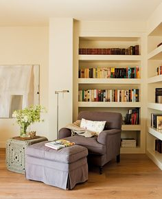 Seating For Small Living Room Wall Bookshelves, Bookcase, Office Waiting Room Chairs, Hygge Home, Corner Chair, Cozy Corner, Home Interior Design, Home Goods, Family Room