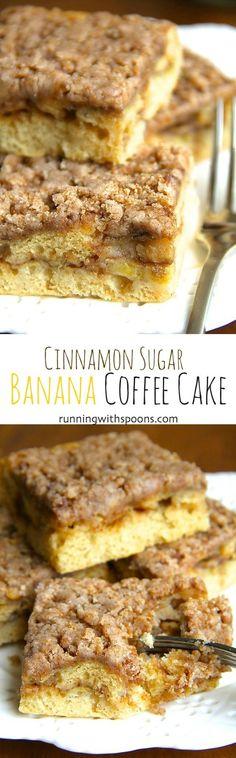 Cinnamon Sugar Banana Coffee Cake -- bananas and Greek yogurt help lighten up this DELICIOUS coffee cake that's healthy enough to enjoy for breakfast! || runningwithspoons.com