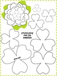 Holy Craft: Felt flowers and free patterns , Risultato immagini per giant paper flower patterns Molds ~ pastelmav for Seals & Applique something to do at home fun & easy ! Paper Flowers Diy, Handmade Flowers, Flower Crafts, Fabric Flowers, Zipper Flowers, Paper Butterflies, Ribbon Flower, Ribbon Hair, Flower Crown