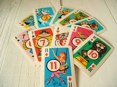 Vintage card game circus Crazy Eights 1960s. $5.00, via Etsy.