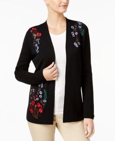 Charter Club Petite Embroidered Open-Front Cardigan, Created for Macy's - Black P/XS