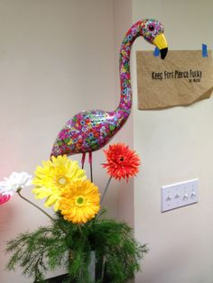 Funky flamingo - looks painted but it's actually colorful, patterned duct tape