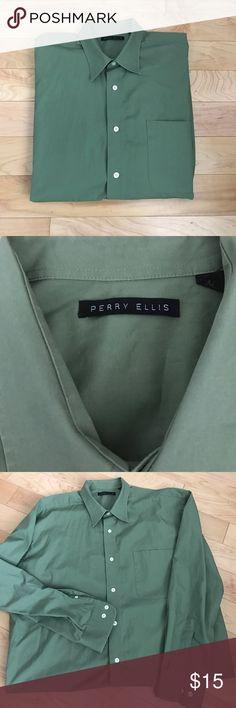 Men's XL perry Ellis army button down dress shirt Very cool men's designer Perry Ellis XL army green dress shirt Perry Ellis Shirts Dress Shirts