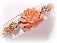 Large Statement Flower Bracelet in Cayenne by RomanticThoughts