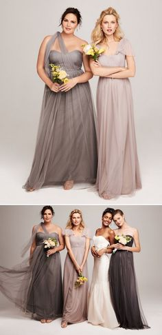 Shades of grey -- Convertible bridesmaid dresses that can be worn up to 15 ways! #MoreOnTheBlog