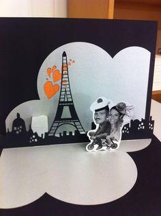 Pop up paris themed wedding card