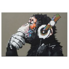 Thinking Monkey With Headphones - Paint By Numbers - Drop Shop Express