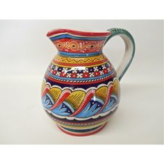 We imported this beautifully handcrafted ceramic Antico Geometrico pitcher from the Italian town of Deruta, which is in the region of Umbria. We have pitchers made of majolica available in a variety of sizes, patterns, and colors. Painted Vases, Hand Painted Ceramics, Talavera Pottery, Blue Pottery, Ceramic Art, Mexican, House Design, Board, Pattern
