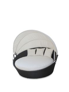 Siesta Outdoor Rattan Canopy Bed by Pearl River Modern CA