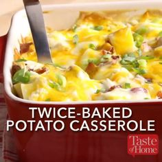 Twice-Baked Potato Casserole recipes mug recipes recipes dessert recipes Potato Side Dishes, Vegetable Side Dishes, Vegetable Recipes, Twice Baked Potatoes Casserole, Casserole Dishes, Cook Potatoes, Cheesy Oven Potatoes, Ground Beef Potato Casserole, Breakfast Baked Potatoes