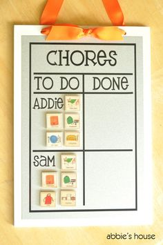 MULTIPLE CHILD Chore Chart Combination Set - includes Multiple-Child Chore Chart & Mix and Match Magnet Set of 12