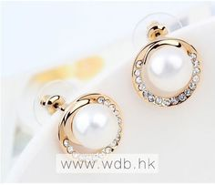 Pretty Pearl Stud Earrings With Rhinestone $8.99
