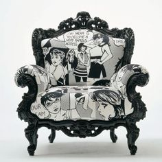 Pop Art - black & white comic strip upholstery on ornate antique arm chair Funky Furniture, Unique Furniture, Vintage Furniture, Painted Furniture, Upcycled Furniture, Art Furniture, Modern Upholstery Fabric, Furniture Upholstery, Boat Upholstery