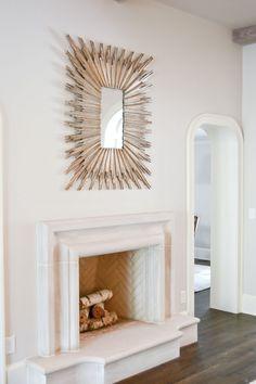 Herringbone firebox, stone mantel