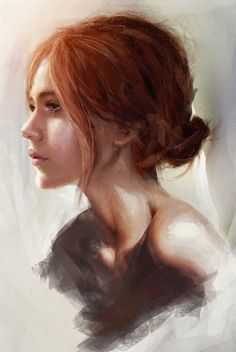 """Afternoon Sketch"" - Mark Chang, student {figurative art beautiful female woman head profile woman face portrait digital painting}"