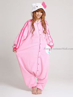 Pink Hello Kitty Onesie Kigurumi Pajama ~ $64 ~ Yes, THIS is what I will be wearing <3 with the fuzzy slippers, of COURSE!!!!!
