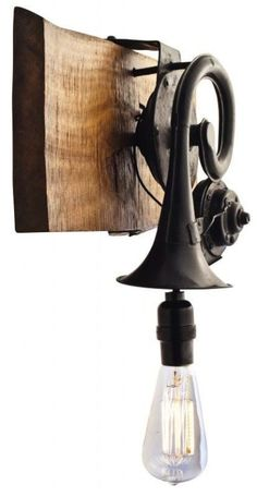 Steamer Era, repurposed vintage car horn light fixture Can I do this with Pop's Tuba? Unique Lighting, Industrial Lighting, Lighting Design, Lighting Ideas, Lamp Light, Light Up, Light Side, Lampe Steampunk, Lampe Metal