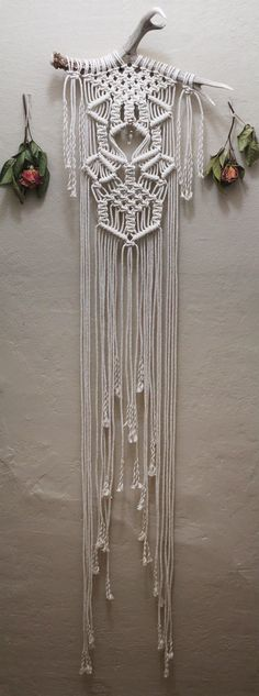 Macramé Wall Hanging on Large Deer Antler with Quartz Crystal