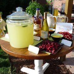 lemonade bar: cherries, strawberries, raspberries, blueberries, vodka, rum, ice tea, mint, lavendar...