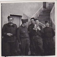 French soldiers with two kittens, WWII