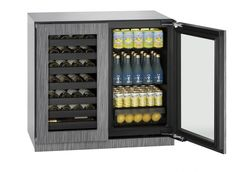 "U-Line Modular 3000 Series 36"" Beverage Center (3036BVWC) holds up to 79 bottles (12 oz) or 123 cans (12 oz) and 31 wine bottles (750 ml). Temperature range: 34°F - 70°F. Independently controlled dual-zones."