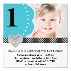 Teal Blue Black Girls Photo 1st Birthday Party Personalized Announcement