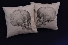 Pair 12 Canvas Skull Pillow Covers by RVaPillowWorks on Etsy, $32.00