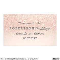 Rose gold faux glitter pink ombre wedding banner