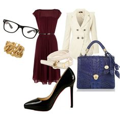 Office Chic. white pea coat maroon dress black stilletos