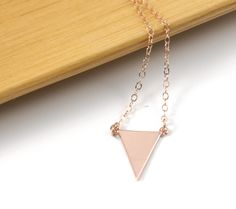 SALES - last 3 - Rose Gold minimalist triangle necklace, jewelry, chic, trendy, pink gold, rose gold filled, by ColorMeMissy, $15.00
