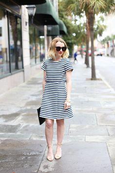 blue and white striped dress via @poorlilitgirl