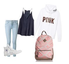 """Untitled #6"" by belencita4928 on Polyvore featuring Frame Denim, Victoria's Secret PINK, H&M and Converse"