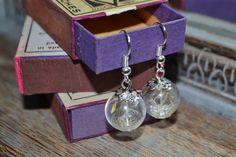 Make a Wish: Real Dandelion Seed Glass Orb / Globe Earrings - Sterling Silver ear wires Childhood Memories Resin Jewelry, Jewelry Findings, Jewelry Sets, Handmade Jewelry, Unique Jewelry, Jewellery, Blowing Dandelion, Organza Gift Bags, Real Flowers
