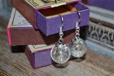 Make a Wish: Real Dandelion Seed Glass Orb / Globe Earrings - Sterling Silver ear wires Childhood Memories