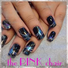 Iove these black nails! Design inspired by Olesja Nikolenko  great way to wear a dark nail but still have some fun! Follow me on Instagram @Matt Nickles Valk Chuah Pink or on Facebook.com/thepinkchairsalon