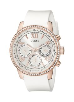 GUESS Women's U0616L1 White Silicone and Rose Gold-Tone Multi-Function Watch -- See this great watch.