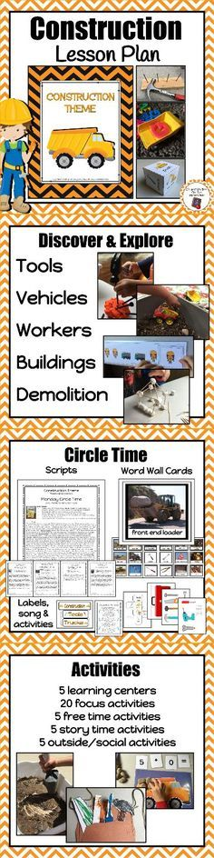 Don't have time to plan a preschool lesson?  Try this engaging and educational construction themed lesson plan.  Your students will love discovering construction workers, construction tools, construction vehicles, buildings and demolition!