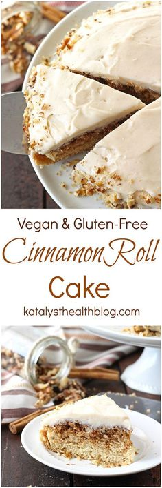 Vegan Cinnamon Roll Cake [Gluten-free / Dairy-free] recipes and nutrition and drinks recipes recipes celebration diet recipes Gluten Free Cakes, Gluten Free Baking, Gluten Free Desserts, Dairy Free Recipes, Dessert Sans Gluten, Vegan Dessert Recipes, Delicious Desserts, Cake Recipes, Vegan Treats